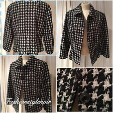 NOA NOA Black & White Houndstooth Jacket With Silver & Grey Stitch Size L