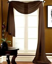 """1PC BROWN SCARF VALANCE TOPPER CASCADING VOILE SHEER FABRIC 35-37""""X216"""""""
