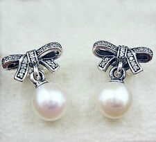 Genuine Pandora earrings delicate sentiments pearl studs bow- 290956CZ