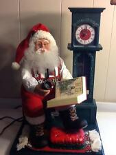 Vintage Christmas Display Animated Santa Claus Working Clock & Cassette Player