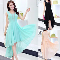 Womens Ladies Boho Sexy Summer Cocktail Evening Party Long Maxi Chiffon Dress