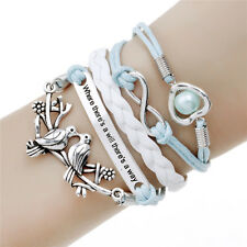 Hot Fashion Silver Love Birds Multilayer Leather Charm Infinity Barcelet Gift