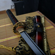 full tang carbon steel black blade japanese Katana samurai sword sharp real cut
