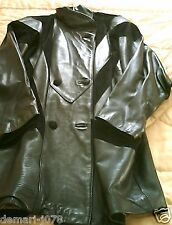 1990s Power House Black Leather/Suede Vintage Casual/Jacket/Coat Size S 14/16