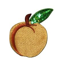 ID 1220 Peach Fruit Food Embroidered W/ Sequins Iron On Applique Patch
