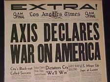 VINTAGE NEWSPAPER HEADLINE~WORLD WAR 2 STARTS German Axis Declares War USA WWII~