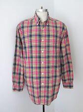 Brooks Bros Pink Green Blue Madras Plaid 100% Cotton LS BD Shirt India XL