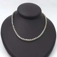 14K White Gold 4.15ctw Round Diamond Graduated Tennis Necklace Sz 17""