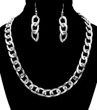 Silver SIMPLE LINK CHAIN HIP HOP Statement Necklace & Earrings SET Metal THICK
