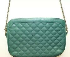 Vintage Women Shoulder Bag Green Quilted Braided Metal Chain Purse Korea