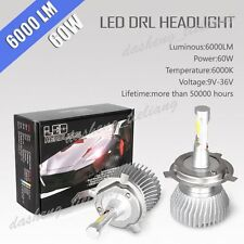 Aluminum 60W 6000LM H4 LED Headlight Kit Beam Light Bulb Hi/Lo 6000K Head Light