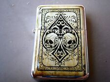 ACE OF SPADES STAR LIGHTER DOUBLE SKULL GOTH POISON TRIBAL & EXTRA ZIPPO FLINTS
