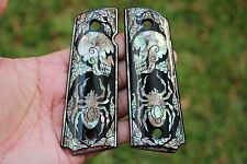 1911 GRIPS COLT KIMBER SPRINGFIELD GOVERNMENT MOTHER OF PEARL SKULL SPIDER BLACK