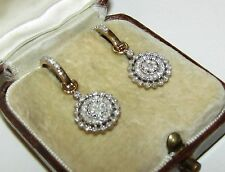 BEAUTIFUL, ART DECO, 9 CT GOLD TREMBLEUSES EARRINGS WITH NATURAL DIAMOND