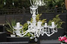 SALE White shabby chic Chandelier Candelabra 6 arm jewel crystal droplets light