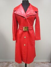 DAVIDSON'S INDIANAPOLIS COAT LEATHER TRENCH BELT GLAM SASSY SCARLET LINED WNS XS