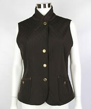 Talbots Womens Petites Size Small Brown Sleeveless Quilted Corduroy Collar Vest