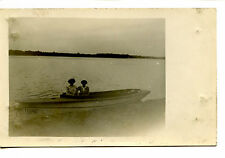 Two Girls in Boat Named Rono on Lake-Water View-RPPC-Vintage Real Photo Postcard