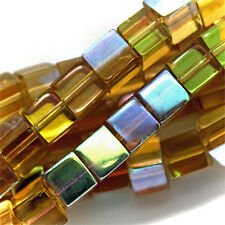 GLASS CUBE BEADS CITRINE YELLOW AB COLORS 4MM SQUARE STRANDS