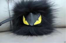 New Black puff fox fur Leather Monster Bag car Charm Doll Ball keychain Keyring