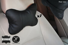 1X BLACK STITCH BLACK LEATHER LUXURY HEADREST PILLOW NECK REST CUSHION PAD