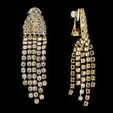 GORGEOUS 18K GOLD PLATED GENUINE AUSTRIAN CRYSTAL DANGLE CLIP-ON  EARRINGS