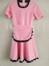 Latex Rubber Gummi Pink and Black Skirt Lace Maid Dress Size XS-XXL