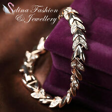 18K Rose Gold Plated Made With Swarovski Crystal Stylish Wheat Sheaf Bracelet