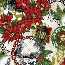 MAGIC OF WINTER SNOW SCENE POINSETTIAS HOLLY LANTERNS CHRISTMAS FABRIC METALLIC