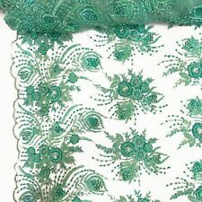 "Seafoam Bridal Celosia floral Lace Sequins Beaded Scallop Fabric Dress 52"" BTY"
