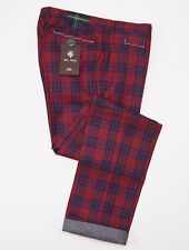 NWT $550 PT01 Red-Blue Tartan Plaid Brushed Flannel Wool Pants 34 McKay