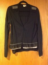 Yellow Bird Black Cardigan With Ruffled Sleeves & Sheer Back, Size Medium
