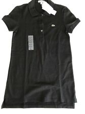 New Lacoste Cotton Black Polo Shirt Top size 4 36 Tunic womens