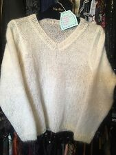 "����Ladies Vintage Punk Handmade Mohair White V Beck Jumper 33"" 4-6"
