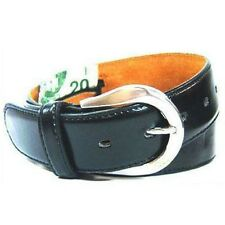 New Leather Black Money Belt / Travel Belt - XL