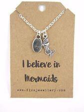 I Believe in Mermaids Mermaid & Believe Charm Cluster Message Card Necklace New
