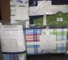 4pc NWT Pottery Barn Kids Madras crib skirt bumper Alligator quilt & gator sheet