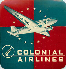 COLONIAL AIRLINES ~CANADA~ Vibrant Old Luggage Label, c. 1955
