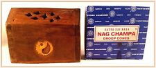 ONE ASST WOODEN SMALL COFFIN BOX INCENSE BURNER & 10 Nag Champa CONE INCENSE