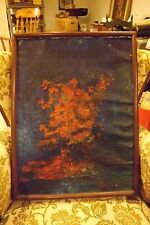 """Vintage Old Oil on Canvas Signed """"BERNARD"""" Pulled from Victorian Home 19"""" x 25"""""""