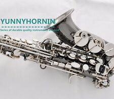 Black Silver Nickel Superior Curved Soprano Saxophone High F# Bb Sax New