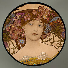 Mucha, rêverie, glasspainting, stained glass, suncatcher, Mucha, daydream, glass