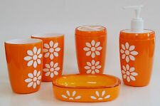 NEW 5 PC SET ORANGE+WHITE FLOWER SOAP DISPENSER+DISH+2 TUMBLER+TOOTHBRUSH+BOX