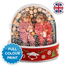 Christmas Xmas Personalised Photo Snow Globe Dome Shaker Ornament | Red