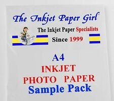 A4 260g Premium SATIN Resin Coated Photo Inkjet Paper 2 sheet SAMPLE PACK