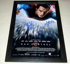 "MAN OF STEEL CAST X3 PP SIGNED & FRAMED 12""X8"" POSTER HENRY CAVILL SUPERMAN"