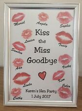 Hen Party Keepsake * Personalised * Kiss the Miss * A4 Print * Free P&P *   W3