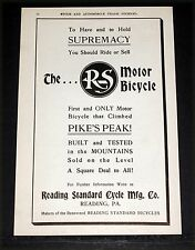 1906 OLD MAGAZINE PRINT AD, R-S, READING STANDARD MOTOR BICYCLES ON PIKE'S PEAK!