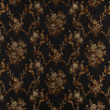 A0014C Midnight Gold Ivory Floral Brocade Upholstery Fabric By The Yard