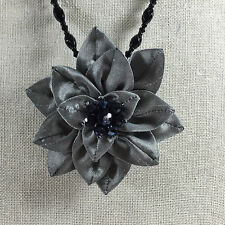 Fabric Floral Pendant Necklace Brooch Gray Adjustable Crystal Dahlia Flower New